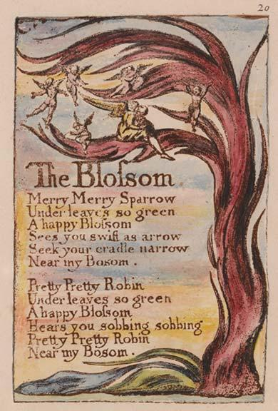 The Blossom Merry Merry Sparrow Under leaves so green A happy Blossom Sees you swift as arrow Seek your cradle narrow Near my Bosom.