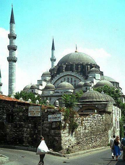 The Suleymaniye Mosque : Istanbul 1550-57 The largest Ottoman half-domed mosque It sits on the top of the sixth hill that dominates the city cascades down in a pyramidical arrangement of its domes,