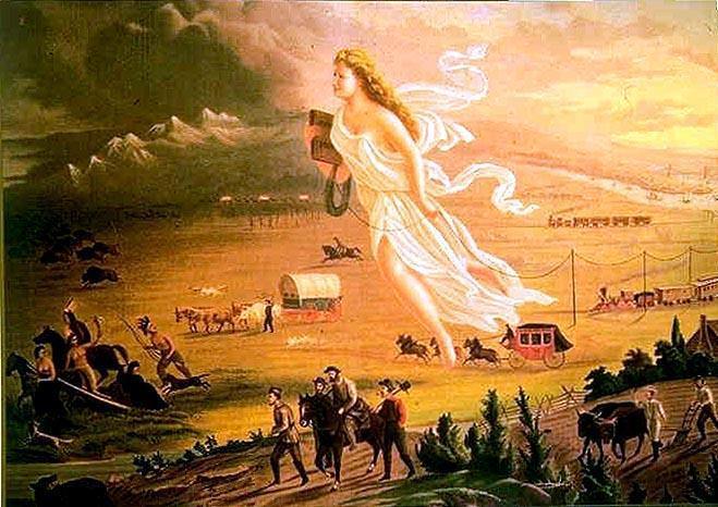 Manifest Destiny and Trails West Part I. Study the picture below and answer the questions that follow. 1. List 5 images you see in this picture. 2.