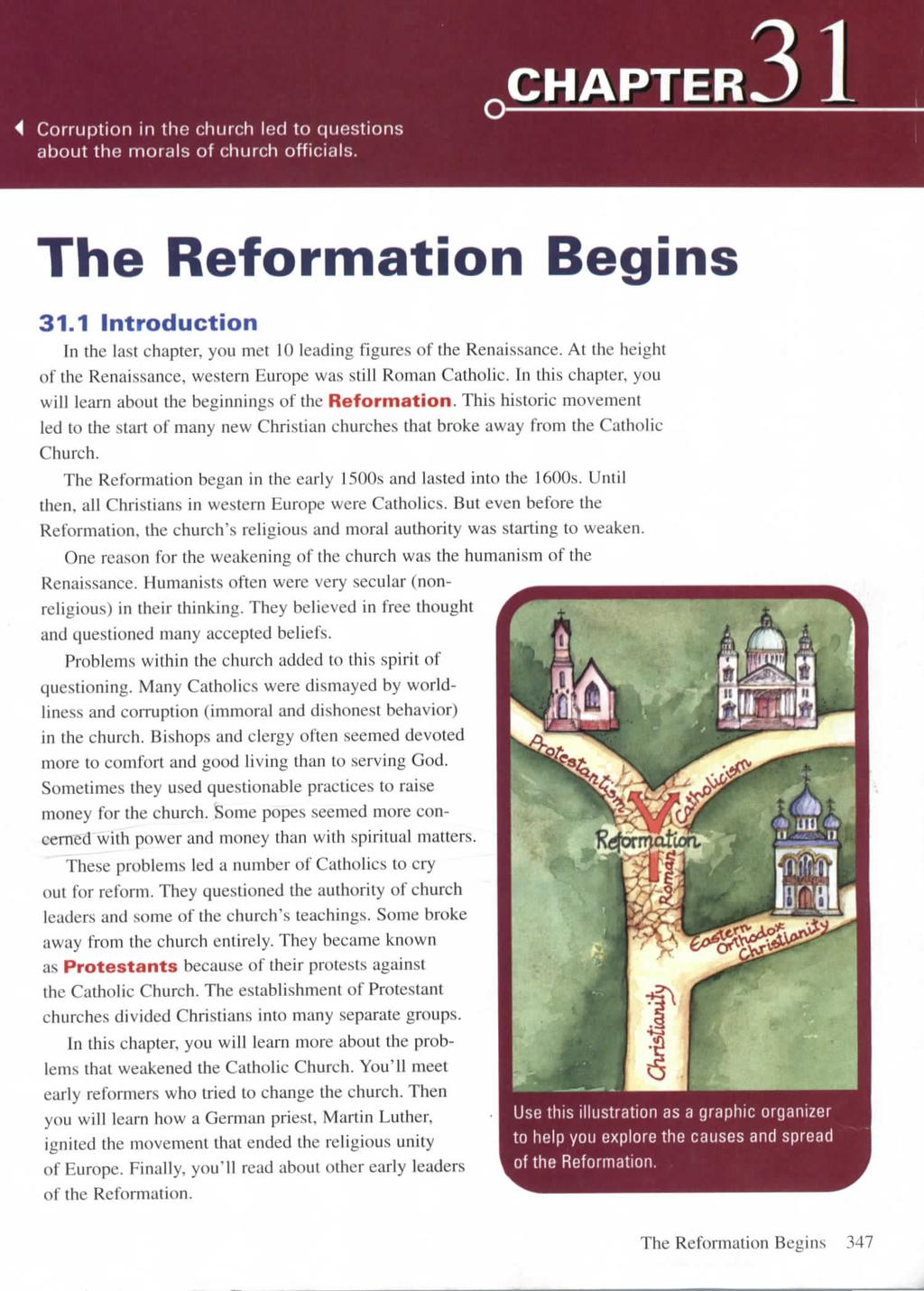 4 Corruption in the church led to questions about the morals of church officials. CHAPTER The Reformation Begins 31.1 Introduction In the last chapter, you met 10 leading figures of the Renaissance.