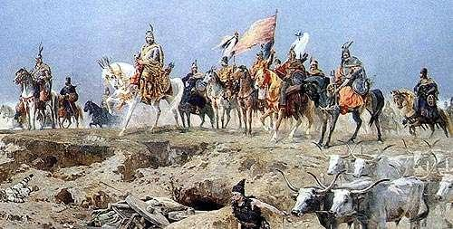 The Magyars attacked on horseback from the east and Muslims