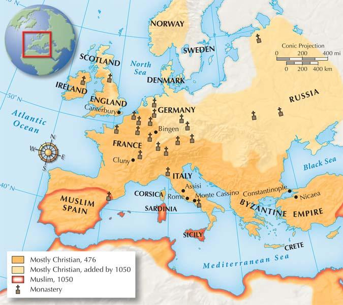 Section 3 Once Christianity had spread throughout Europe, anyone who was