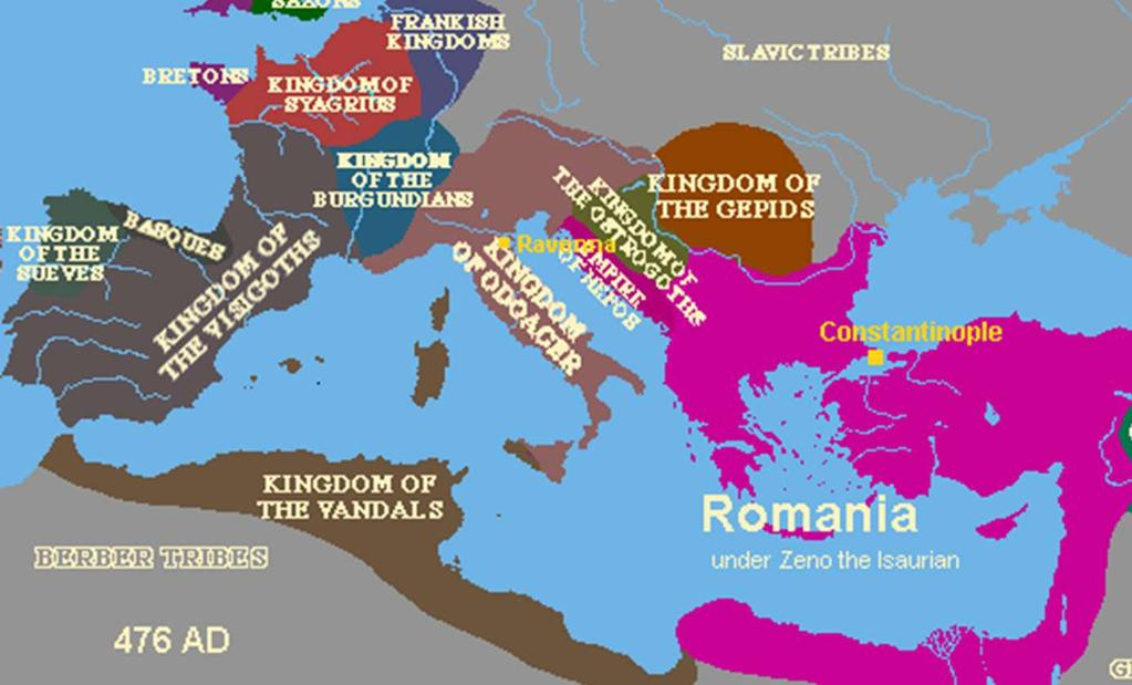 In western Europe, the Roman Empire had broken into many small kingdoms.