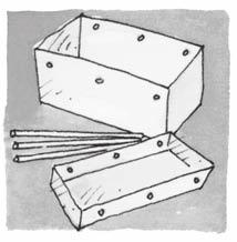 Lesson 6 n Option 3: Lifting the Roof SUPPLIES: shoe box with lid, dowels, hole punch, people or animal figures Before class, punch holes in a shoe box and lid as shown in the margin.