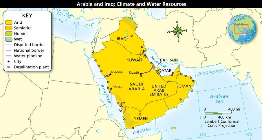 Climate, Water, and People in Arabia and Iraq Because of dry climates in this region, water is scarce.