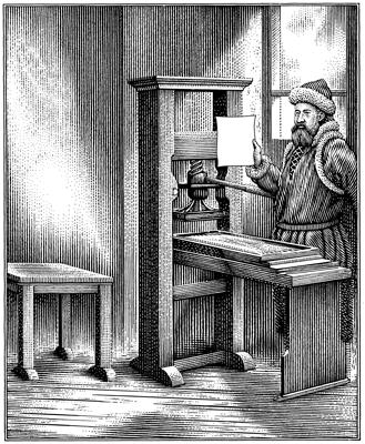 Writers and humanists in Europe greatly benefited from advancements in printing. In 1454, Johann Gutenberg printed the Bible off his printing press.
