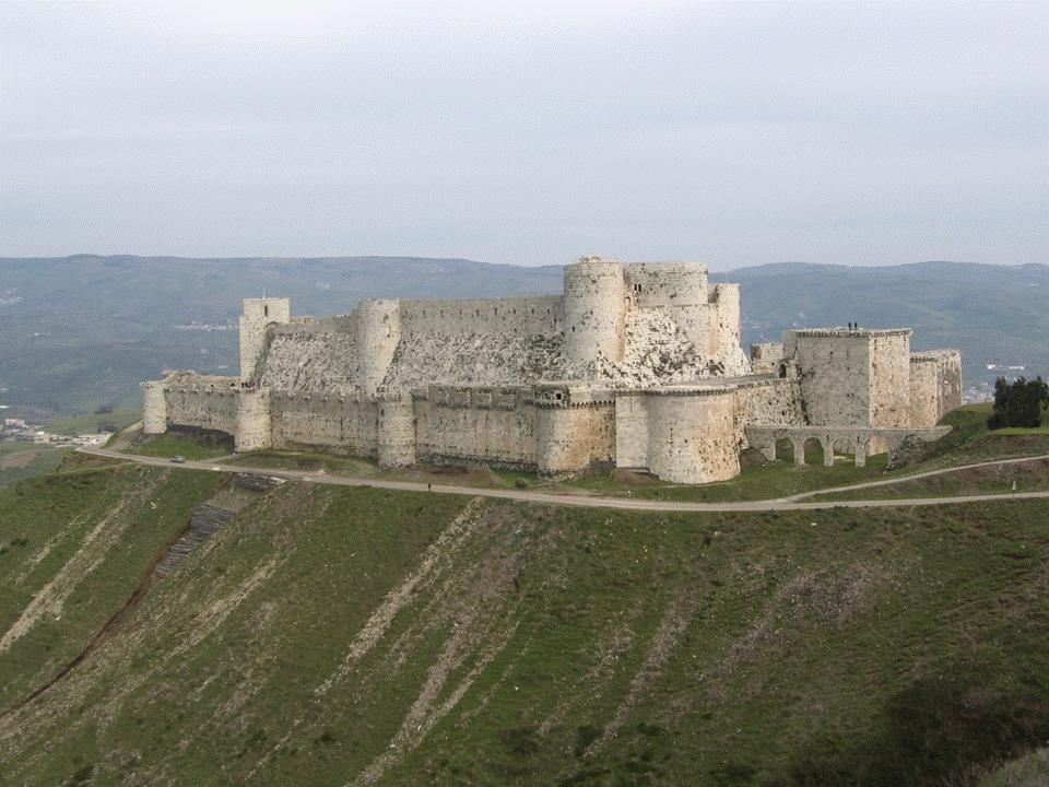 Krak des Chevaliers, Syria. It is one of the most important preserved medieval military castles in the world, and one of the most spectacular. T. E.