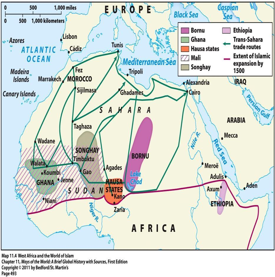 Islam spread by Muslim traders across the Sahara Peaceful and voluntary acceptance
