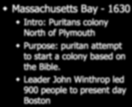 Massachusetts Plymouth - 1620 Intro: Puritans aboard Mayflower Purpose: Religious Freedom Leader: