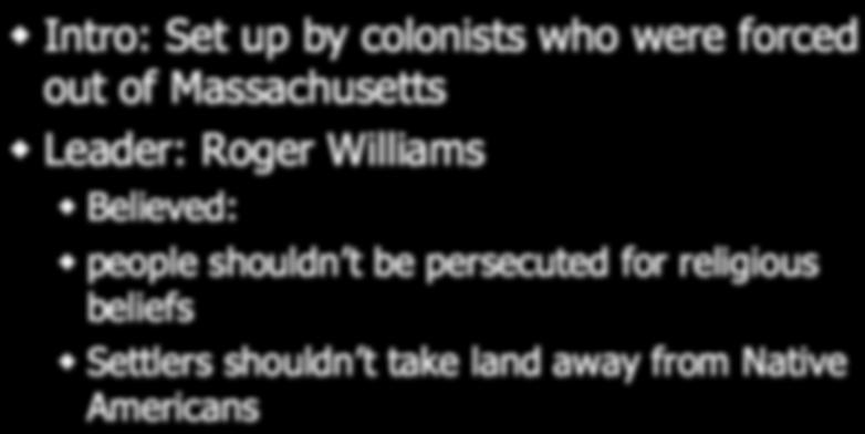 Rhode Island Intro: Set up by colonists who were forced out of Massachusetts Leader: Roger