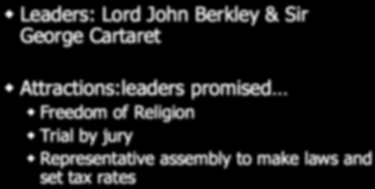 legislature New Jersey Leaders: Lord John Berkley & Sir George Cartaret