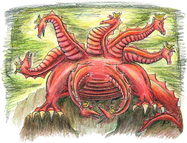 THE BEAST OUT OF THE SEA The first beast in chapter 13 rises up out of the sea and has seven heads and ten horns.