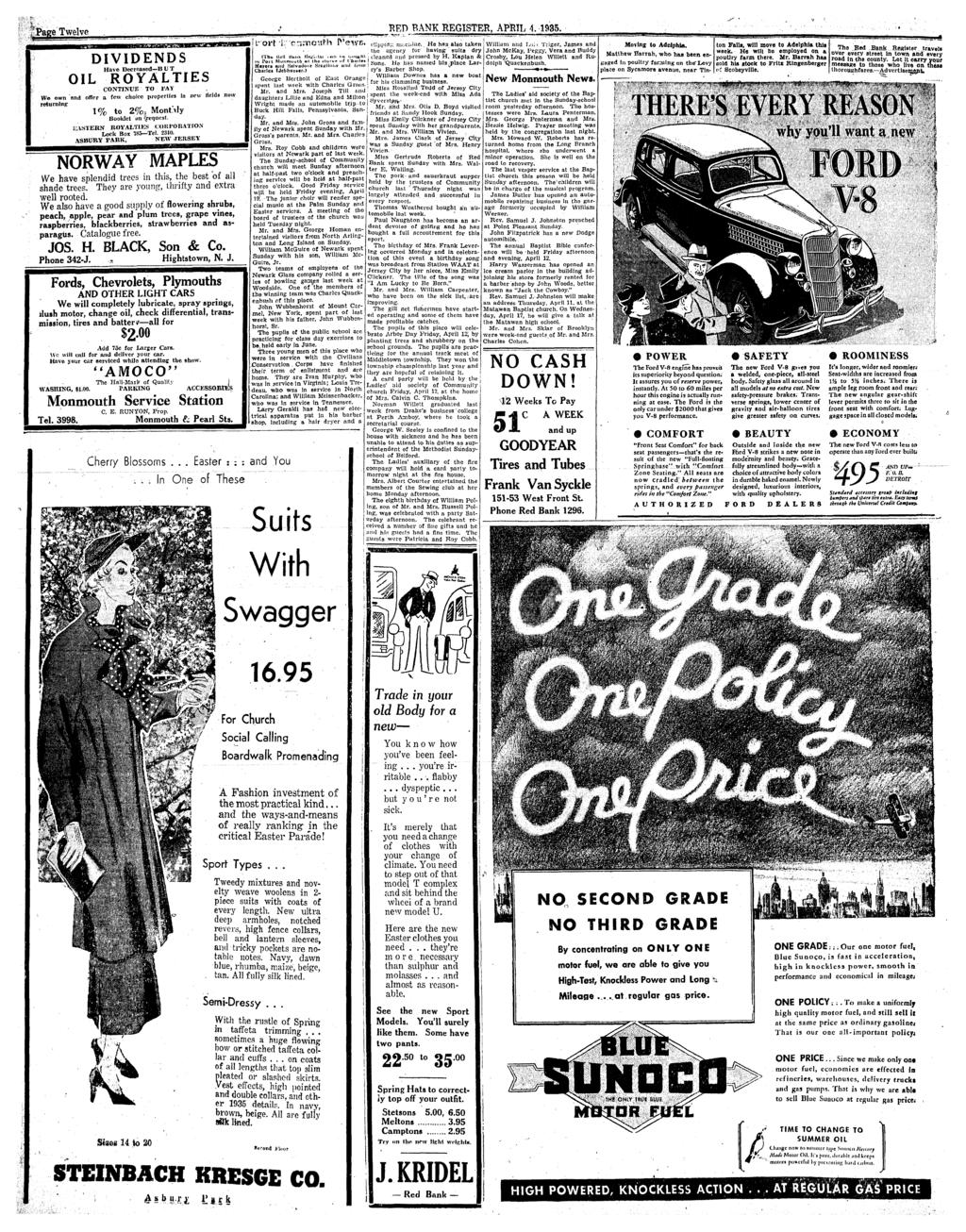 Celebrating Easter Morn On Top Of Mount Mitchell Pdf Body Wiring Diagram For 1946 47 Chevrolet Sedan Style 1019 Page Twelve Red Bank Register April 4 1935 Lilrort L