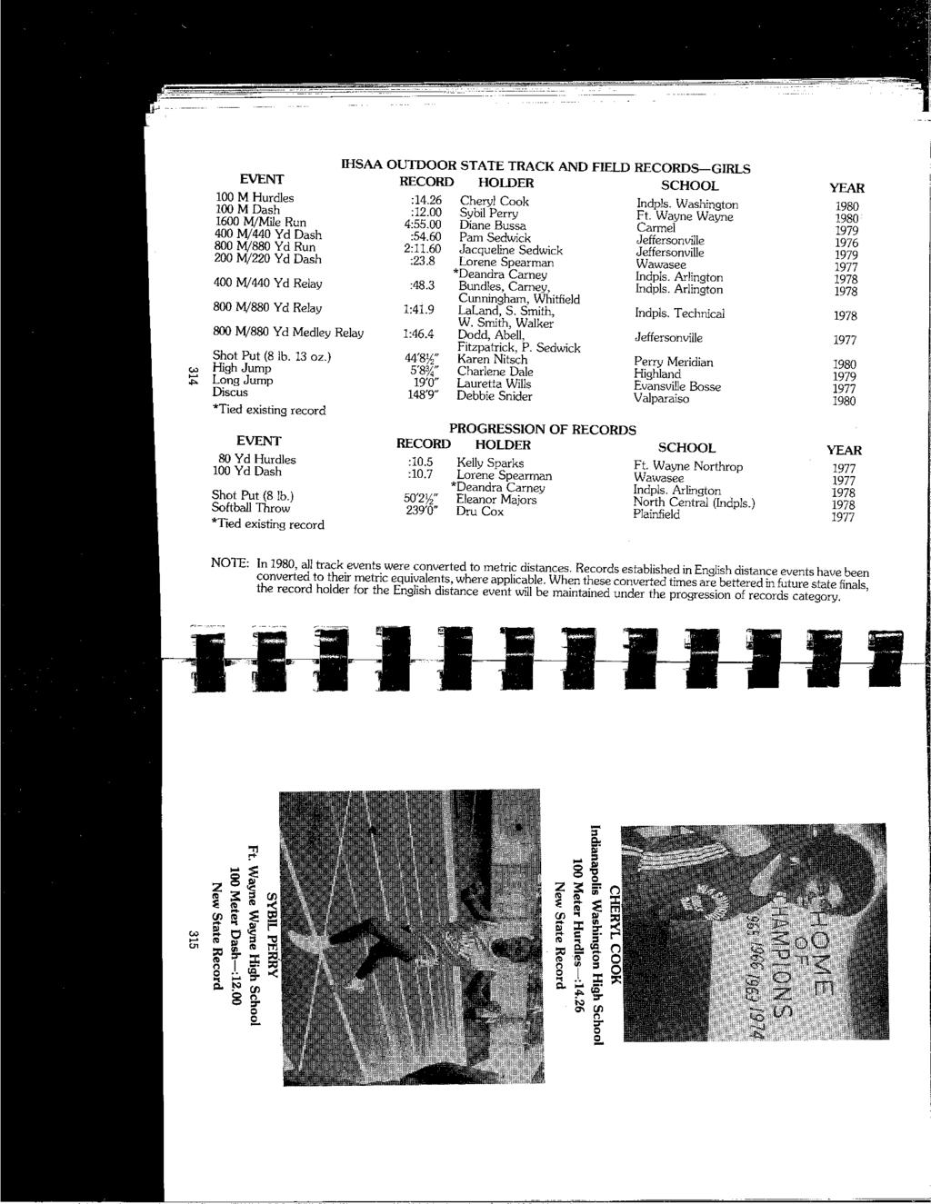 "IHSAA OUTDOOR STATE TRACK AND FIELD RECORDS-GIRLS EVENT RECORD HOLDER SCHOOL YEAR,;: "" 100 M Hurdles :14.26 Cheryl Cook Indpls. Washington 1980 100 M Dash :12.00 Sybil Perry Ft."