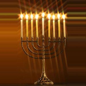 Hanukkah: The 9 Pointed Menorah 8 candles celebrate the 8 nights after the temple was