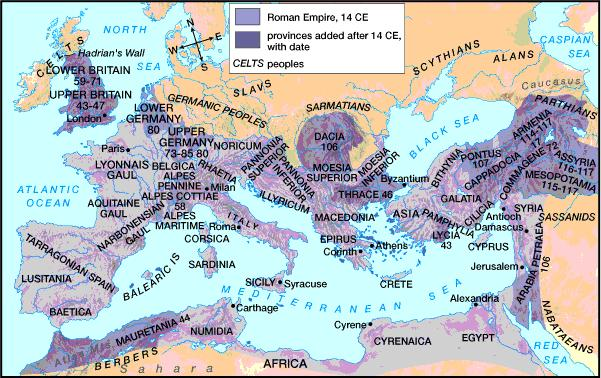 Pax Romana 200 years; peace, unity, order, prosperity Roman legions maintain