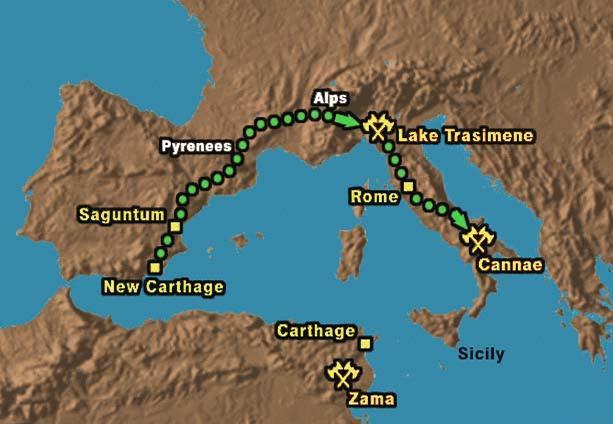 First; Rome wins Sicily, Corsica, and Sardinia Second 218 BC; Hannibal marches over the Alps into Italy