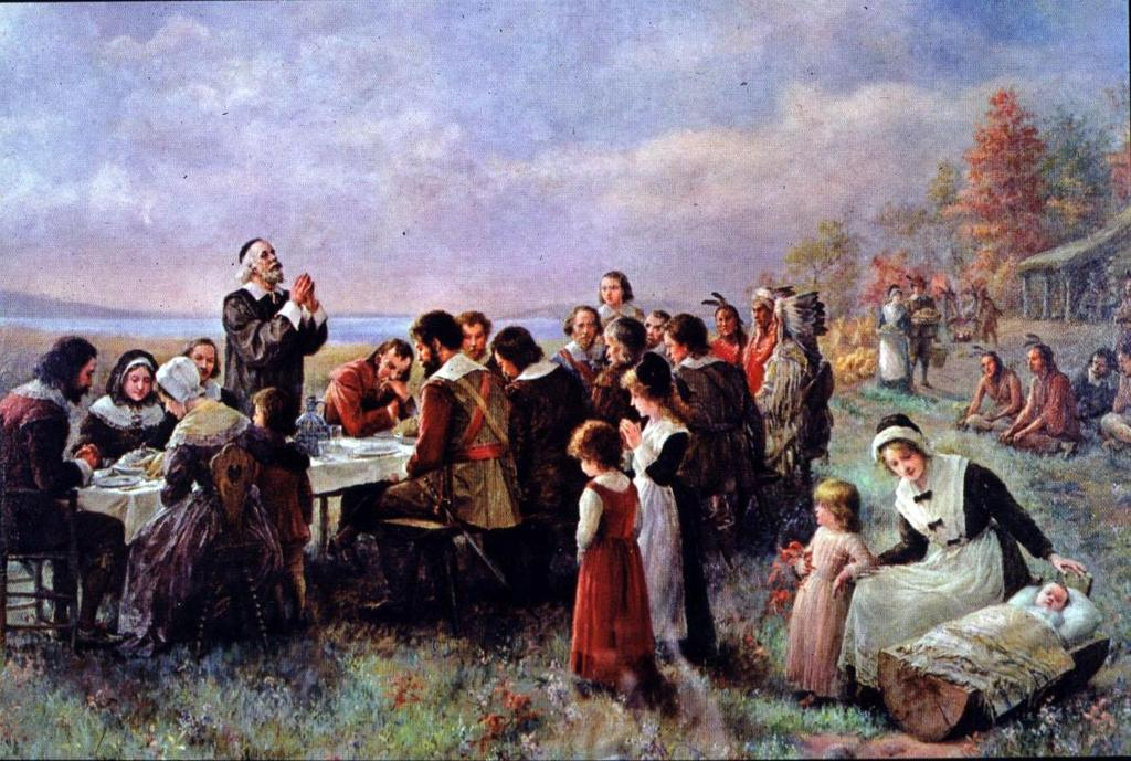 The First Thanksgiving painted in