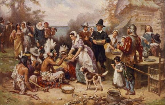 The First Thanksgiving This painting by J.L.