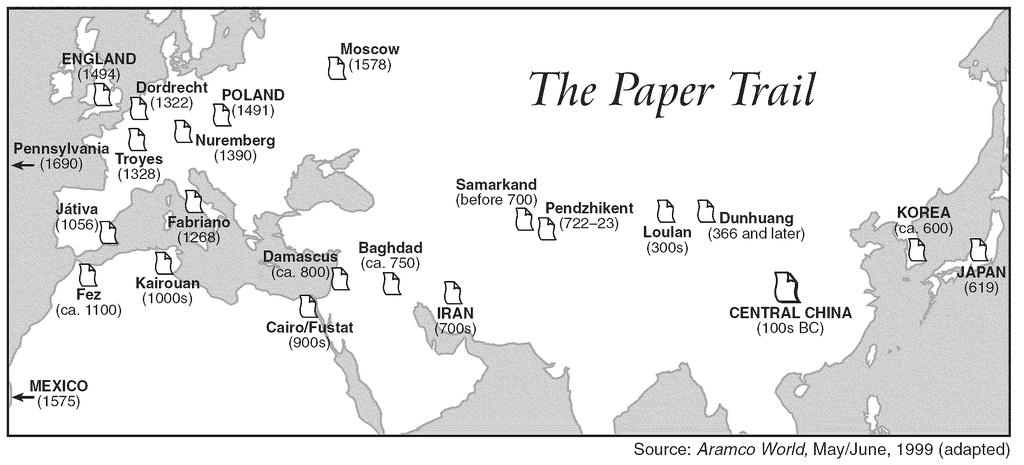 8. Base your answer to the following question on the map below and on your knowledge of social studies.