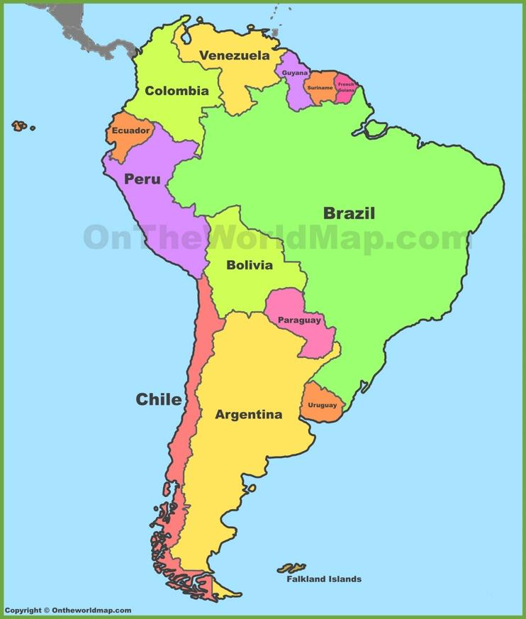 South America Label the following: Venezuela, Chile, Paraguay, Brazil,