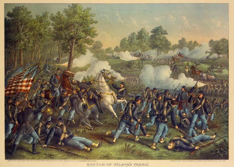 Battle of Wilson's Creek. Chromolithograph by Kurz and Allison, 1893. Missouri History Museum Photograph and Prints collection.