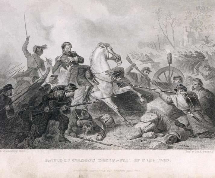 "Images of Wilson s Creek ""Battle of Wilson's Creek.- Fall of Genl. Lyon."" Steel Engraving by F.O.C. Darley and George E."