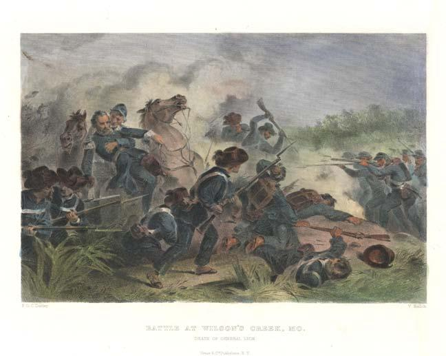 "P0084-0611. ""Battle At Wilson's Creek, MO. Death of General Lyon."" Hand colored steel engraving by F.O.C. Darley, 1862."