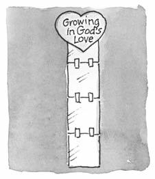 Post the finished paper strip on the wall, heart-end up. The bottom of the strip should be touching the floor. Say: We can listen to God as we grow.