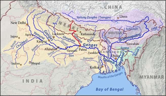 Gandak: - It originates from Nepal joins the Ganges near Patna. Its total length is 425 km in India.