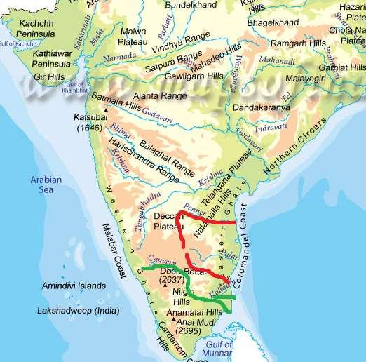 Cauvery: - It originates from Brhmgiri hill of Karnataka.
