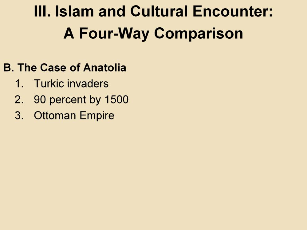 III. Islam and Cultural Encounter: A Four-Way Comparison B. The Case of Anatolia 1.