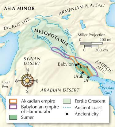 Section 2 Many warriors descended on the rich cities of the Fertile Crescent; some created wellorganized empires. In 2300 B.C., Sargon, ruler of Akkad, invaded Sumer and built the first empire.