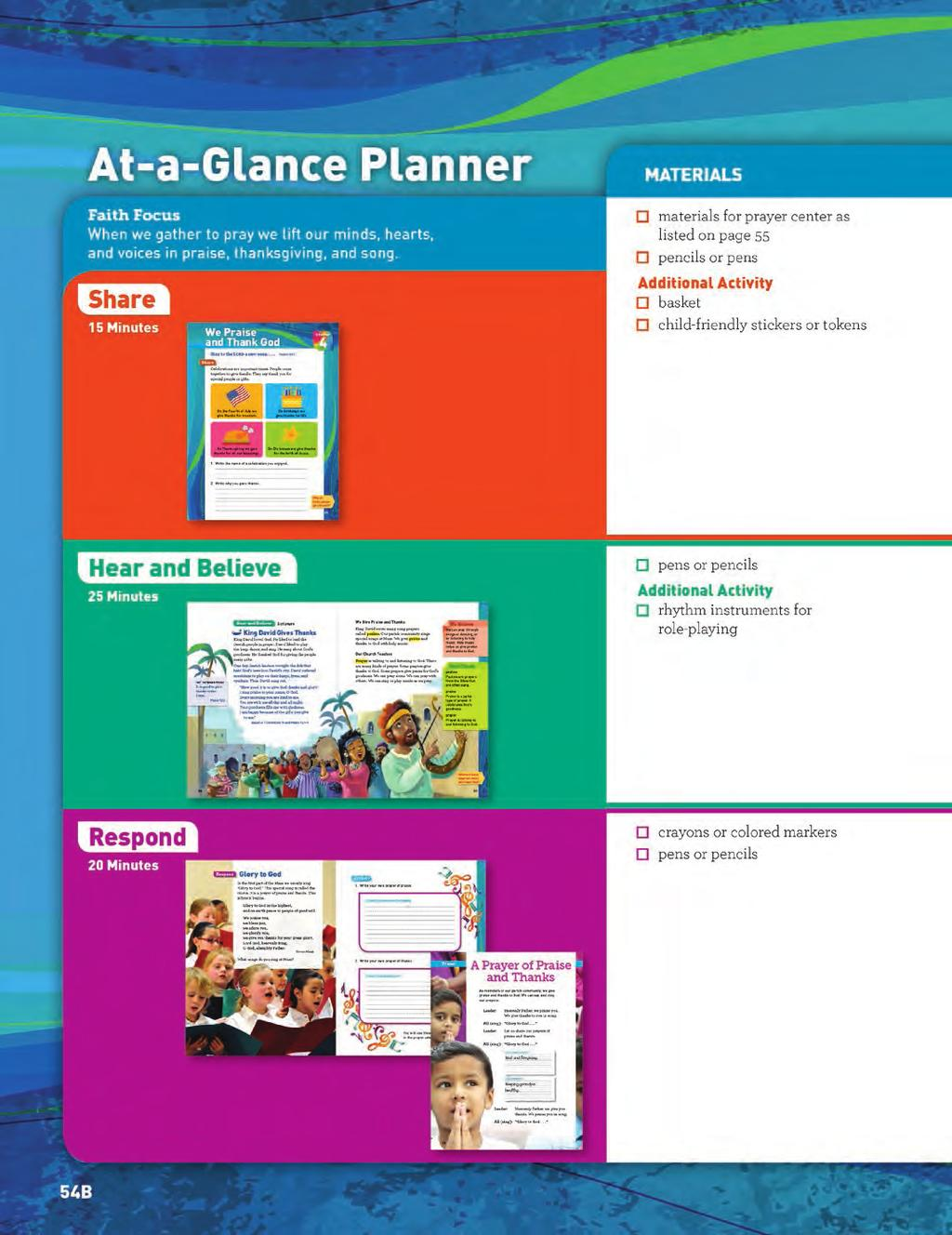 Grade 2 Catechist Guide At-a-Glance Planner AT-A-GLANCE PLANNER The At-a-Glance Planner presents an overview of the