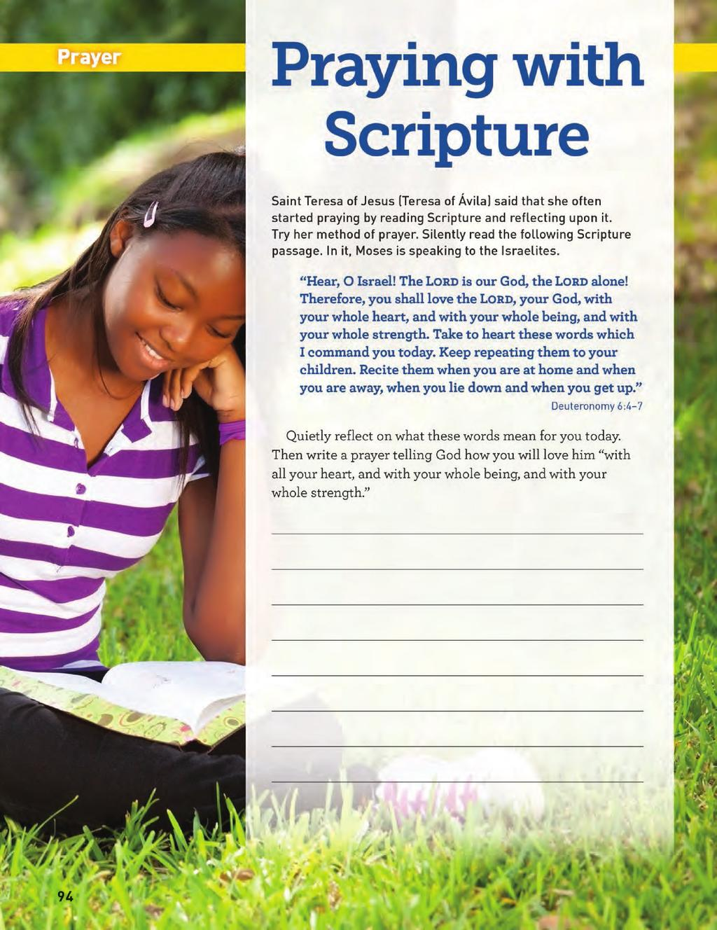 Grade 6 Prayer Page PRAYER PAGE The prayer page at the end of each chapter provides the young people with a