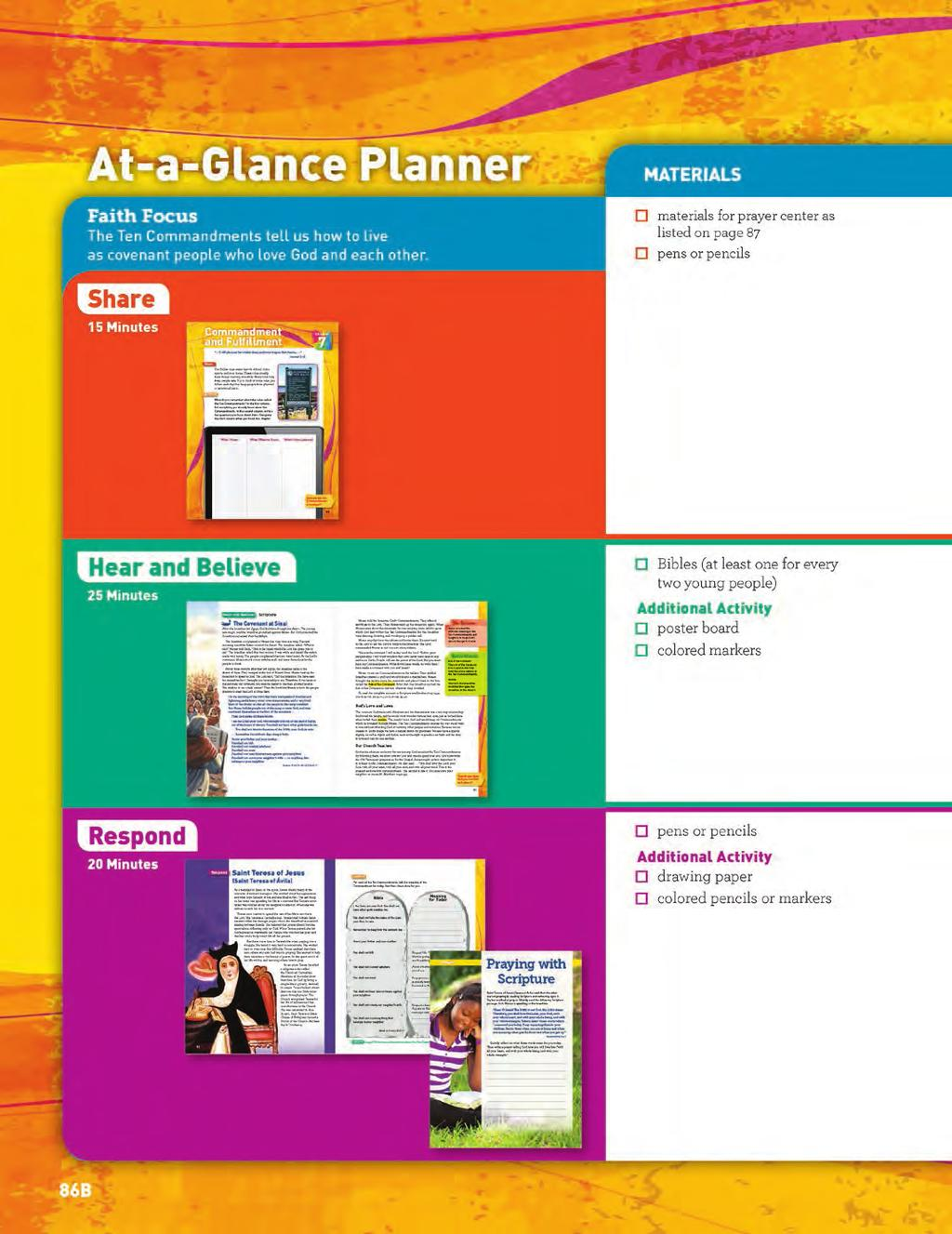 Grade 6 Catechist Guide At-a-Glance Planner AT-A-GLANCE PLANNER The At-a-Glance Planner presents an overview of the
