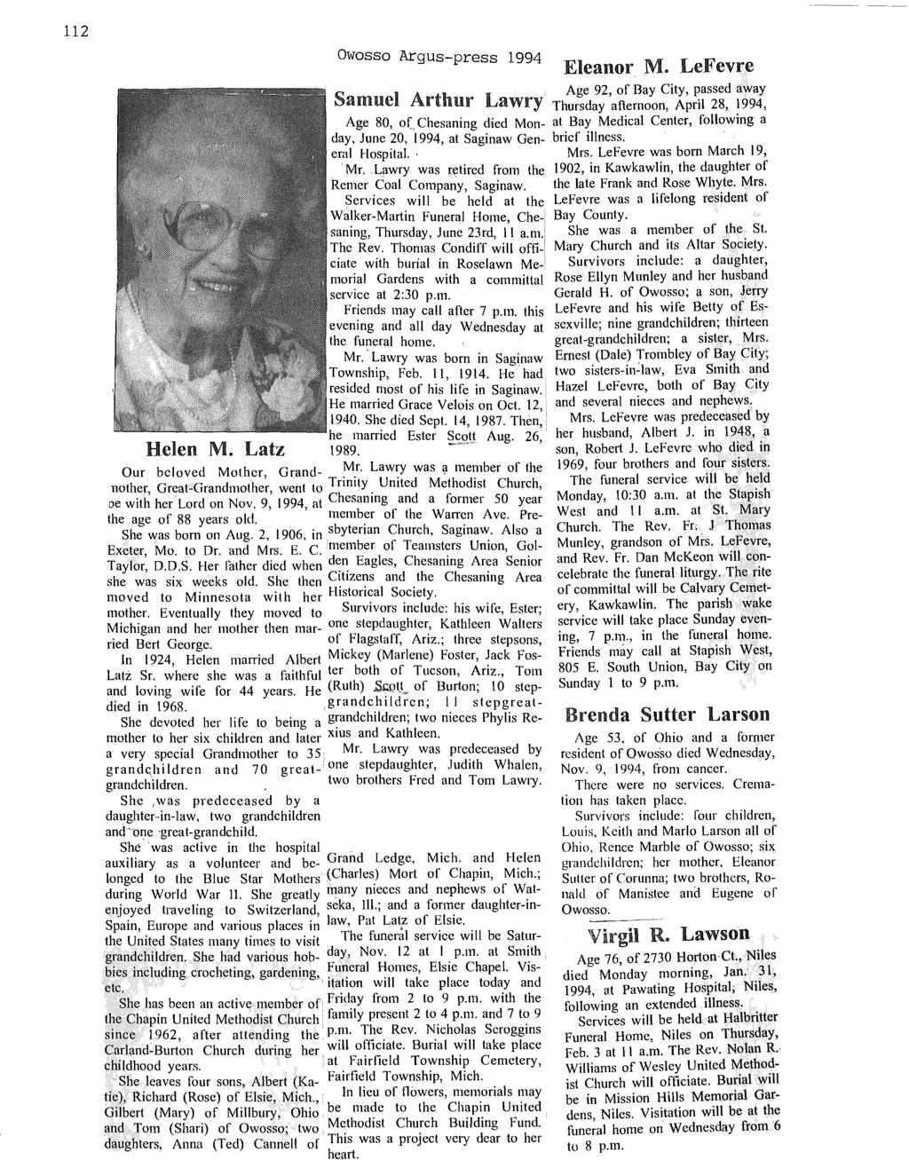 112 Owosso Argus-press 1994 Samuel Arthur L Eleanor M.