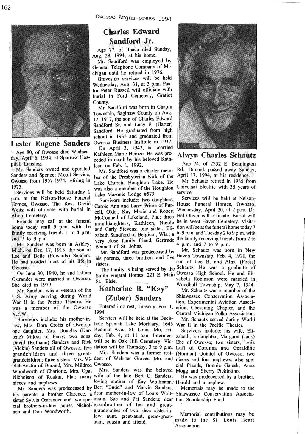 162 Owosso Argus-press 1994 Charles Edward Sandford Jr. Age 77, of Ithaca died Sunday, Aug. 28, 1994, at his home. Mr.