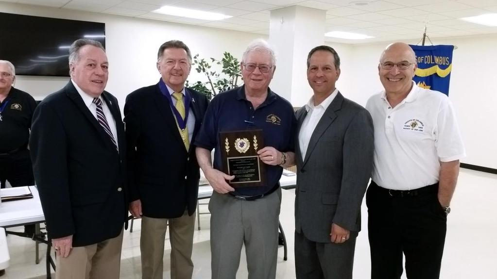 John Vergano Plaque At last month s Business Meeting, our former Financial Secretary, Brother John Vergano, was awarded a plaque in honor of his years of exemplary service as the Council s first