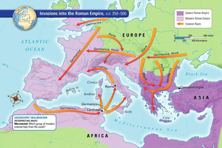 Invaders from Northern and Eastern Europe began to attack Rome s borders.