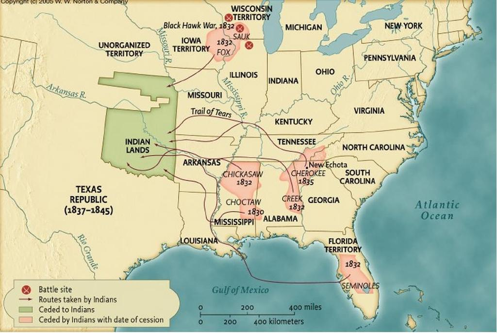 Station : Maps of the Trail of Tears. According to the maps, how many total Native American Tribes were resettled to the Indian Lands in 8? Name them.
