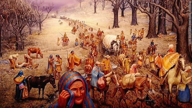 Station : Trail of Tears In 88 and 89, large groups of Cherokee people migrated to the newly formed Indian territories along a pathway that would become known as the Trail of Tears.