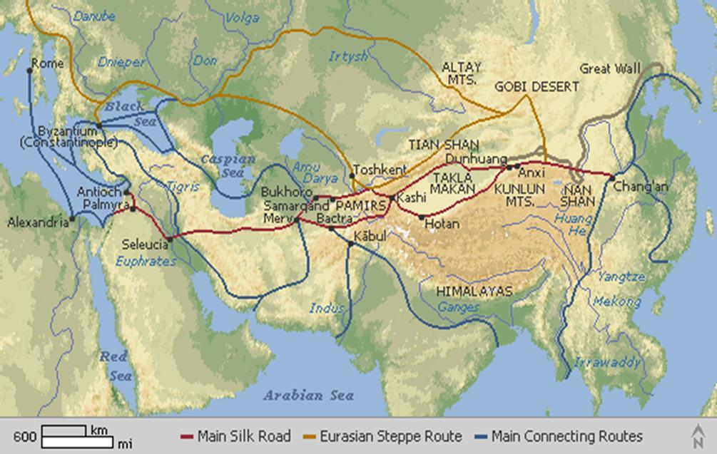 IMPORTANT ROADS Silk Road-China to Western