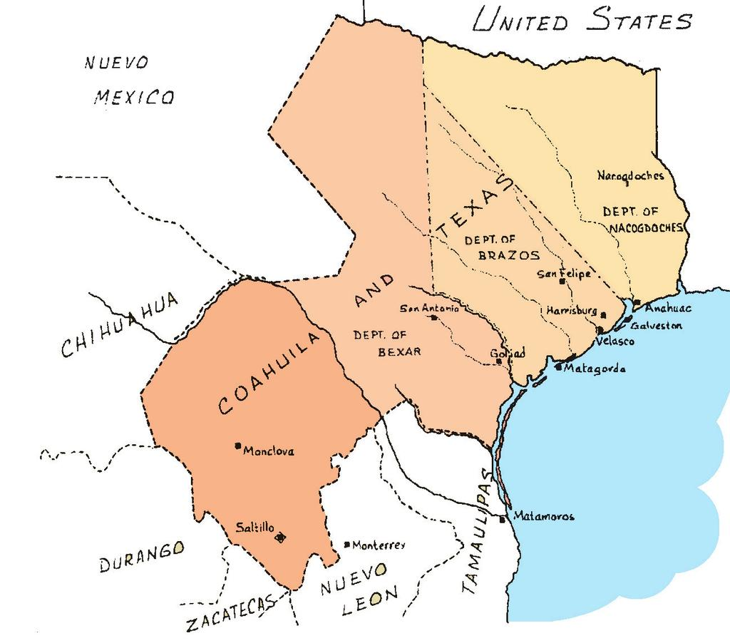 The provinces of Texas and Coahuila were united to form one state in the republic of Mexico.