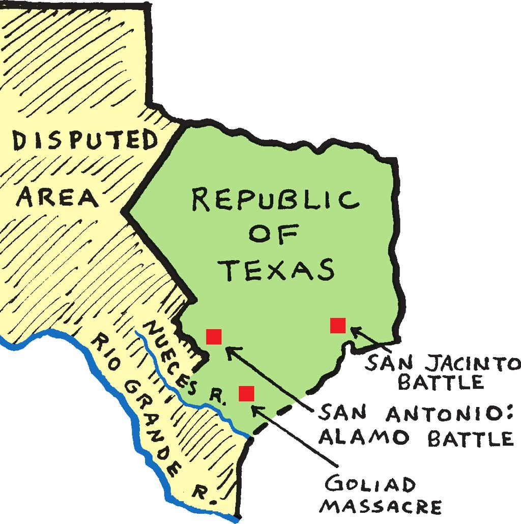 Travis, James Bowie, and Davy Crockett. Then, on March 27, the Mexicans massacred 342 rebels at Goliad. On April 21 General Sam Houston turned the tide.