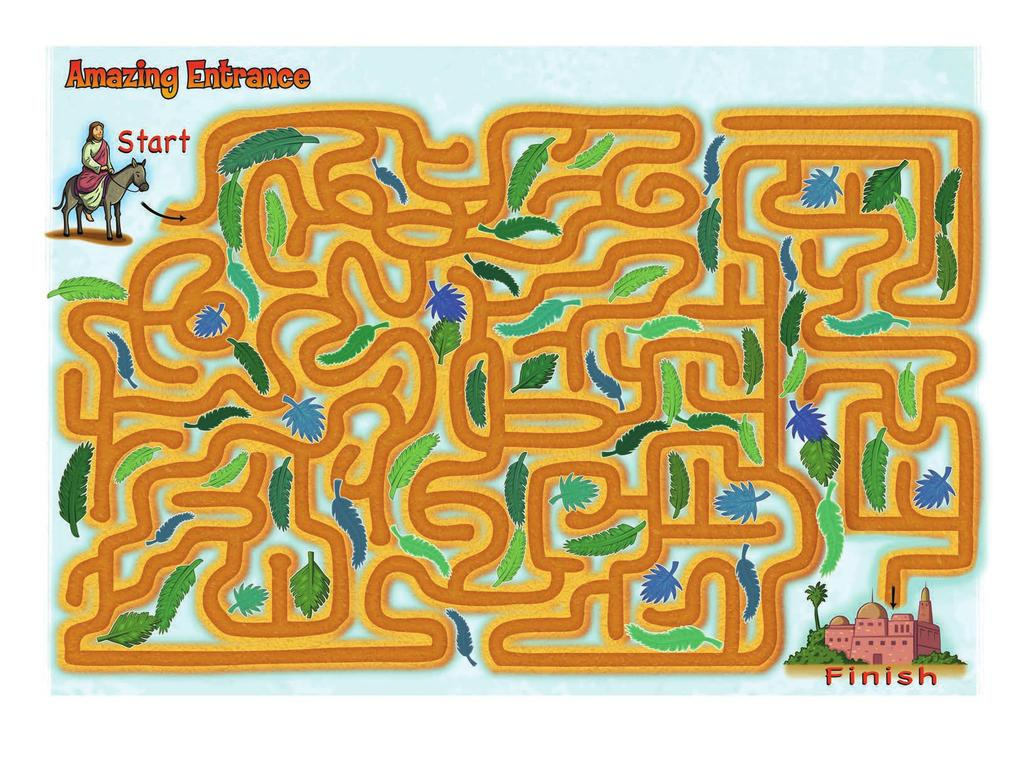 Instructions: Guide Jesus through the maze of palm branches celebrating His entrance into