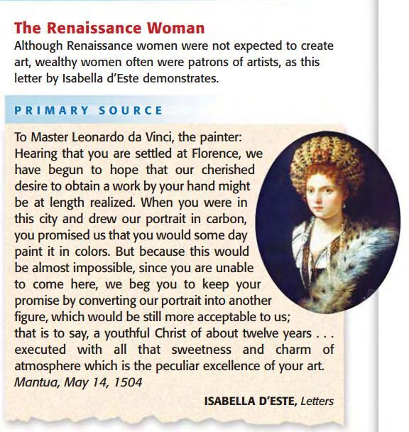 1 st Period 1) What does it tell you about a Renaissance woman?