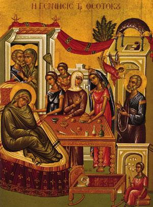 The Nativity of the Theotokos, September 8th According to the ancient tradition of the Church, the Theotokos was born of barren and aged parents, Joachim and Anna, about the year 16 or 17 before the