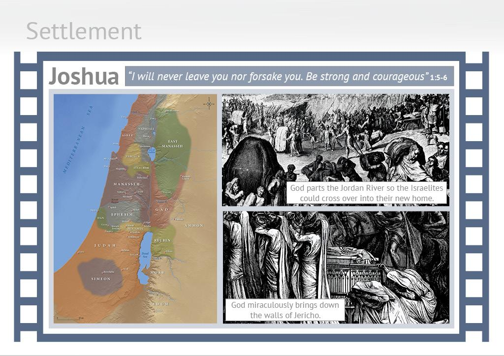 Lesson 02 of 10 Settlement Joshua and Judges are referred to as the books of the Settlement period. Joshua is the book that describes Israel s success and victories as they conquered their new land.