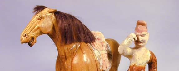 Silk Road Travelers: Animal Handlers Horse China, Tang Dynasty 618-906 CE Earthenware, sancai